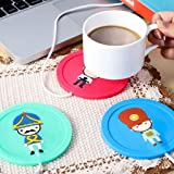 CONNECTWIDE USB Gadget Cartoon Printed Insulation Electric Warmer Silicone Mat (9.5x9.5x0.5cm, Blue)