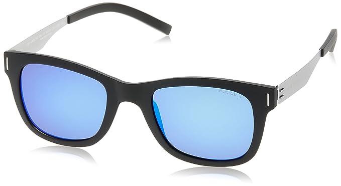 Police SPL170 U28B negro mate /plata lente azul polarizada