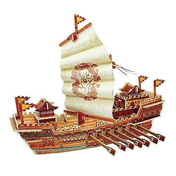 GODNECE - Maqueta de Barco de Madera 3D para Montar (Set de construcción de Madera para Adultos y niños)