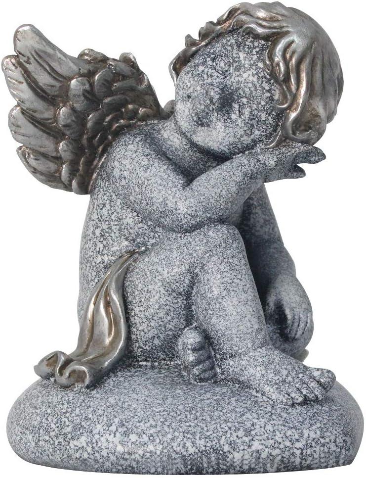 MARYTUMM Angel Sculpture Little Girl On A Heart, Garden Statue, Memorial Gift, Angel with Wings Statue for Indoor & Outdoor