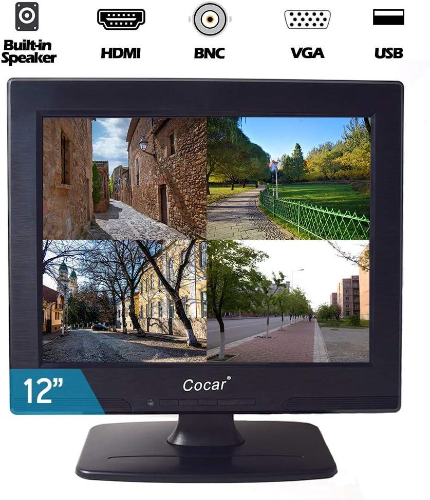 Cocar Monitor LCD CCTV de 12 Pulgadas VGA HDMI AV BNC Pantalla HD 4: 3 Pantalla retroiluminada LED Altavoz Incorporado para cámaras de vigilancia doméstica STB PC Resolución 800x600: Amazon.es: Electrónica