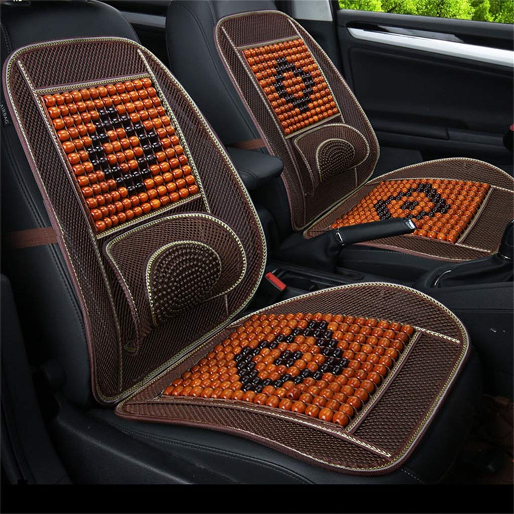 F Wood Beaded Seat Cushion Summer Sunday Seat Cover Antislip Car Interior Seat Chair Pad Cushion (One Pack)