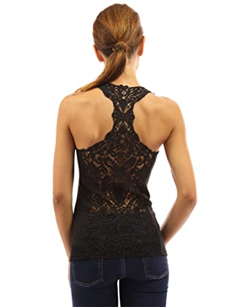 c3bd052a8 PattyBoutik Women's Crochet Lace Racerback Tank Top at Amazon ...