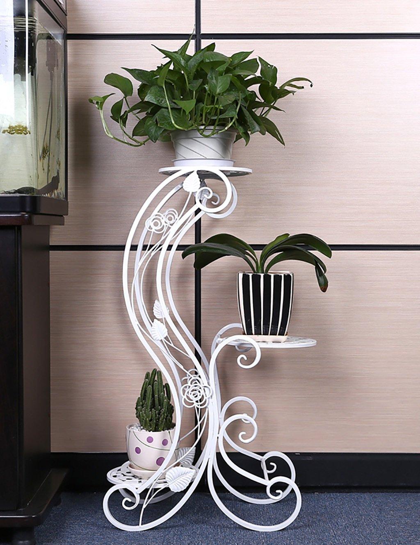 Blumenregal Iron Floor 3-lagiges Blumentopfgestell Europäische-Stil Innen-und Außenbereich einfache Pflanze Regal ( farbe : Weiß , größe : 45cm*24.5cm*81.5cm )