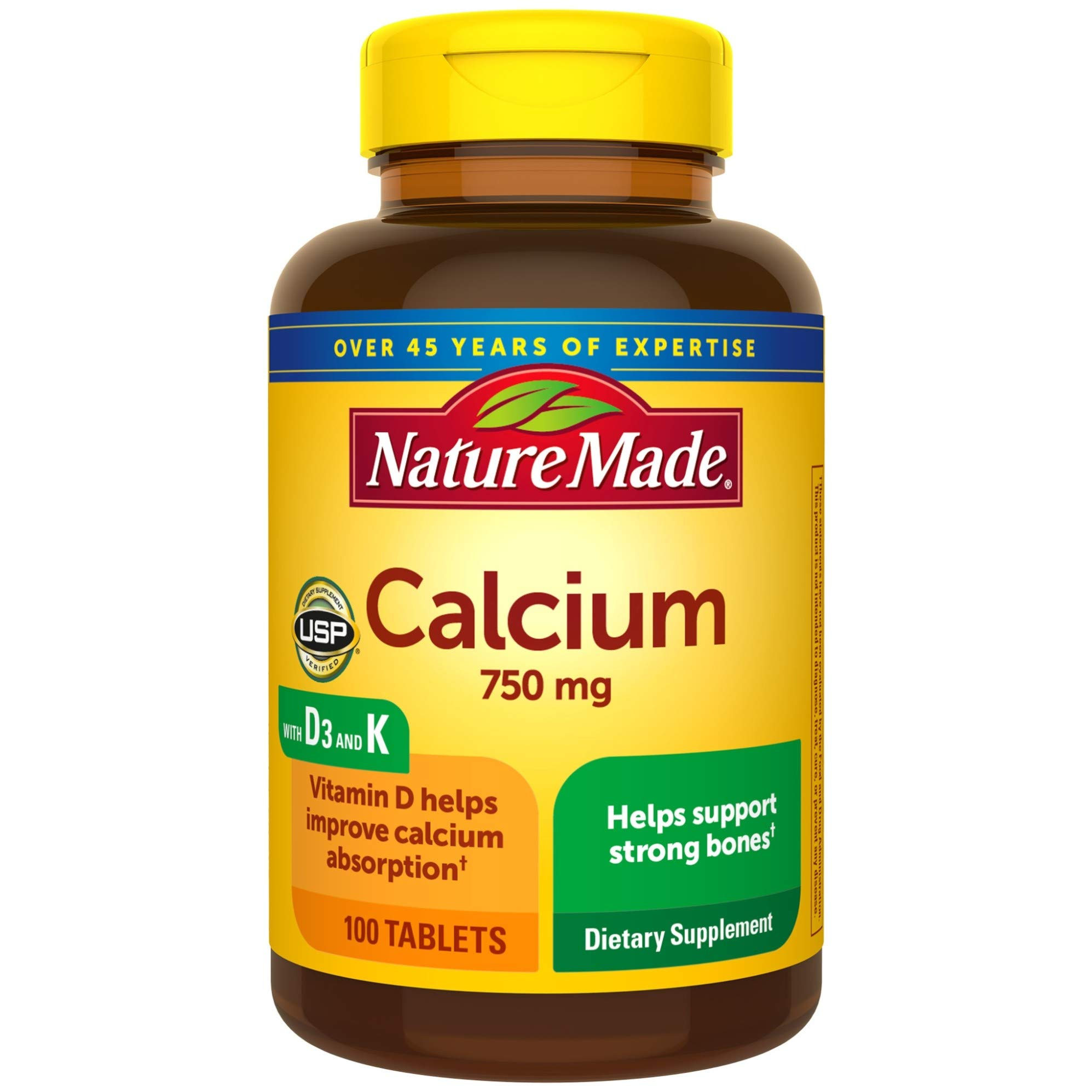 Nature Made Calcium 750 mg with Vitamin D3 and K helps support Bone Strength, Tablets, 100 Ct