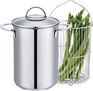 Mr. Right Vegetable Steamer Pot with Basket,Stainless Steel Asparagus Steamer with Glass Lid,4 Quart Vertical Cooker/Steamer