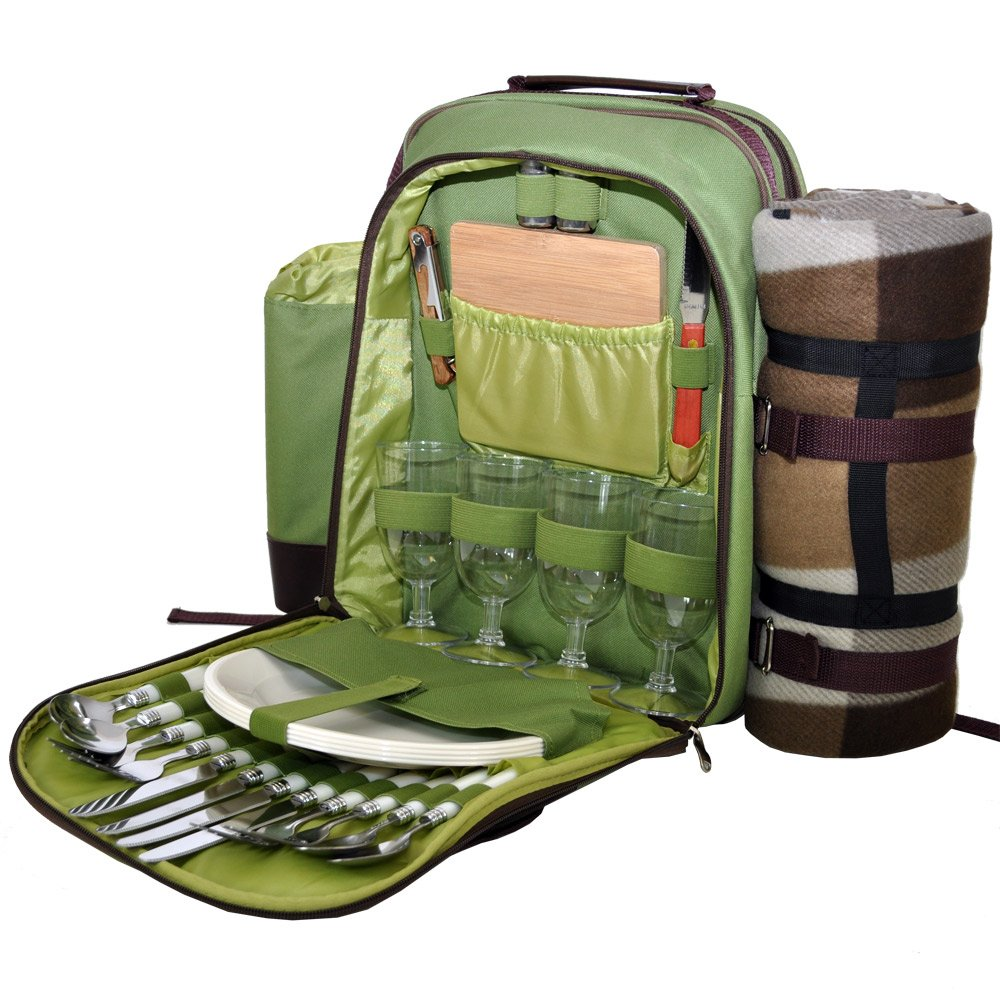 Green 4 Person Picnic Hamper Backpack Roman at Home