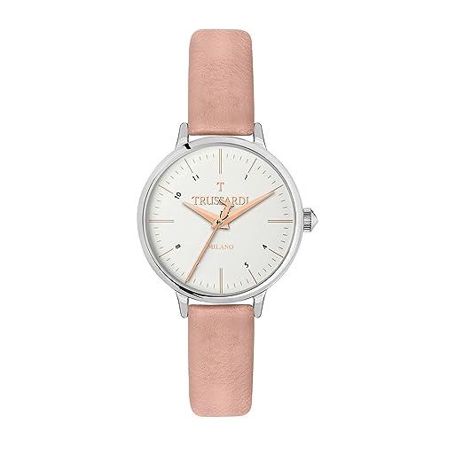 Amazon.com: Reloj de cuarzo de acero inoxidable y cuero ...