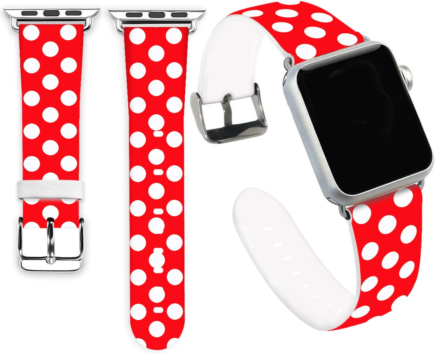 Dot Bands Compatible for iWatch 42mm 44mm,Jolook Soft Leather Sport Style Replacement Band Strap Compatible for Apple Watch 44mm 42mm Series 6/5/4/3/2/1 - Dots