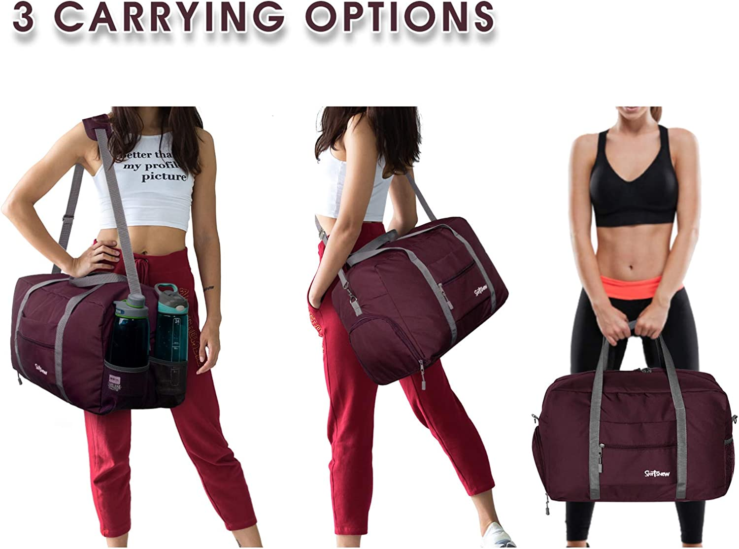 Travel Duffel Bag for Men and Women Lightweight 35L Sports Gym Bag with Wet Pocket /& Shoes Compartment