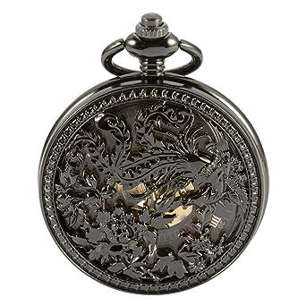 47ff62580 Pocket Watch - ManChDa Automatic Mechanical Skeleton Pocket Watch Black  Hollow Phoenix Case Men Roman Numerals