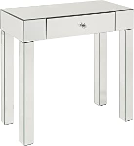 OSP Home Furnishings Reflections Foyer Table with Drawer, Silver Mirrored Finish