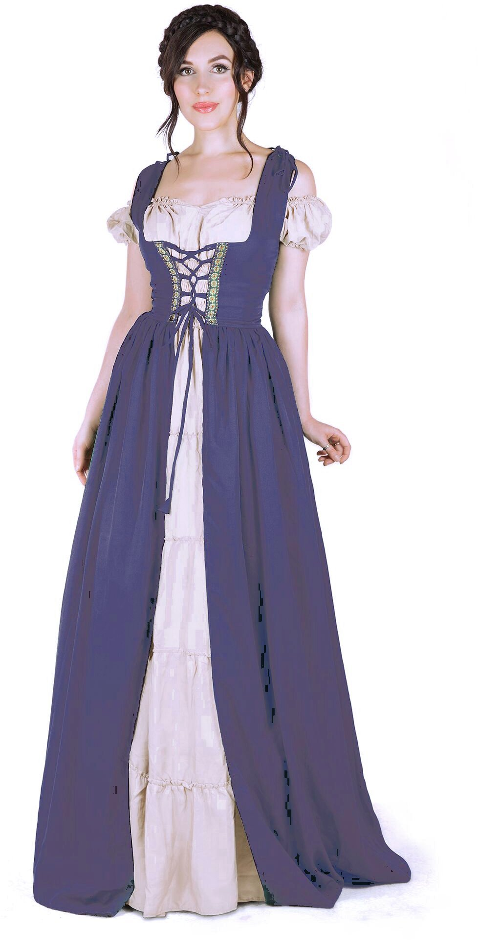 I Do Declare Renaissance Medieval Irish Costume Over Dress & Boho Chemise Set (L/XL, Steel Blue) by I Do Declare (Image #1)