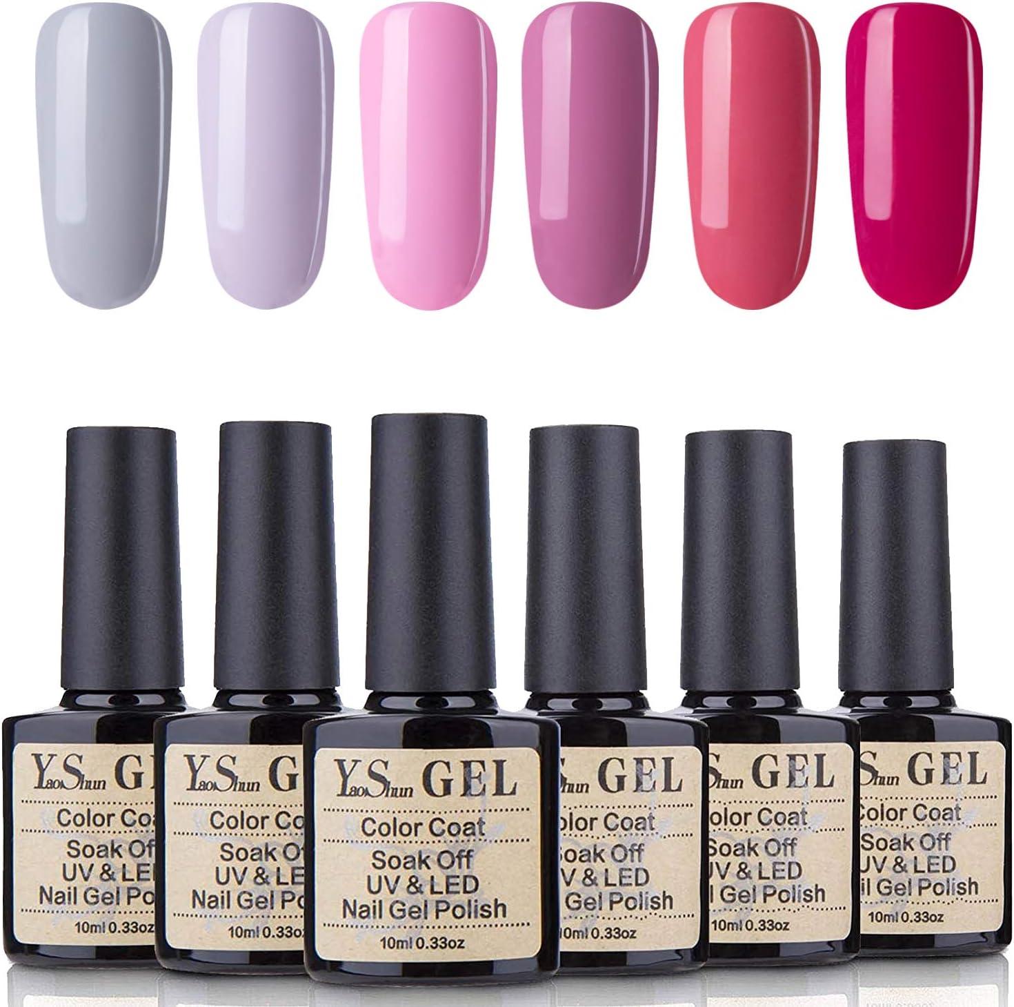 YaoShun Gel Nail Polish Kit - Soak Off Nail Gel UV LED Nail Polish 10ML Gel Polish Gift Box, French Manicure Gel Salon Art Kit #004