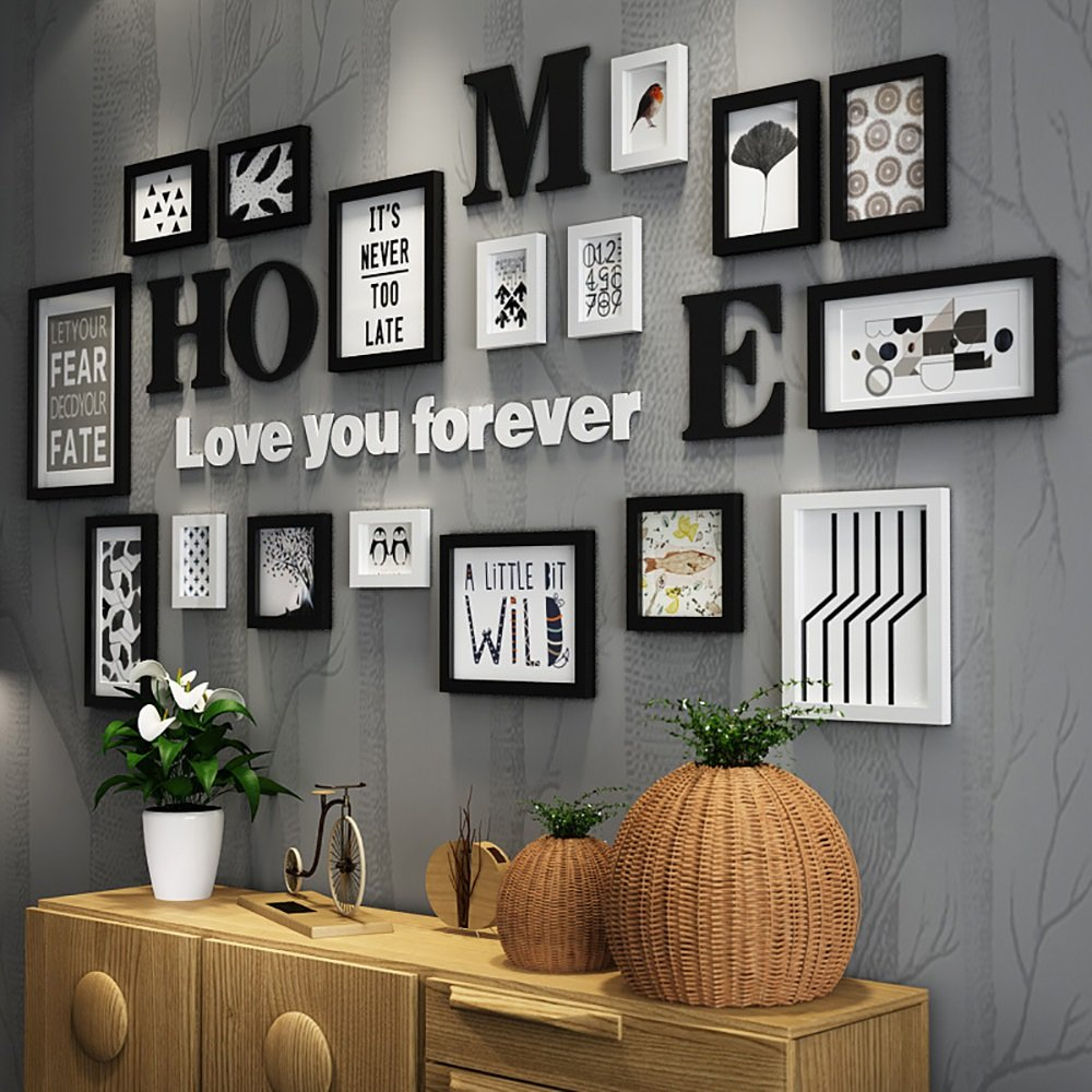 Photo Wall / Photo Frame Wall / Frame Combination Of Solid Wood Photo Frame Creative Decorative Painting 5 Inch 7 Inch 10 Inch 14 Inch ( Color : Black and white )