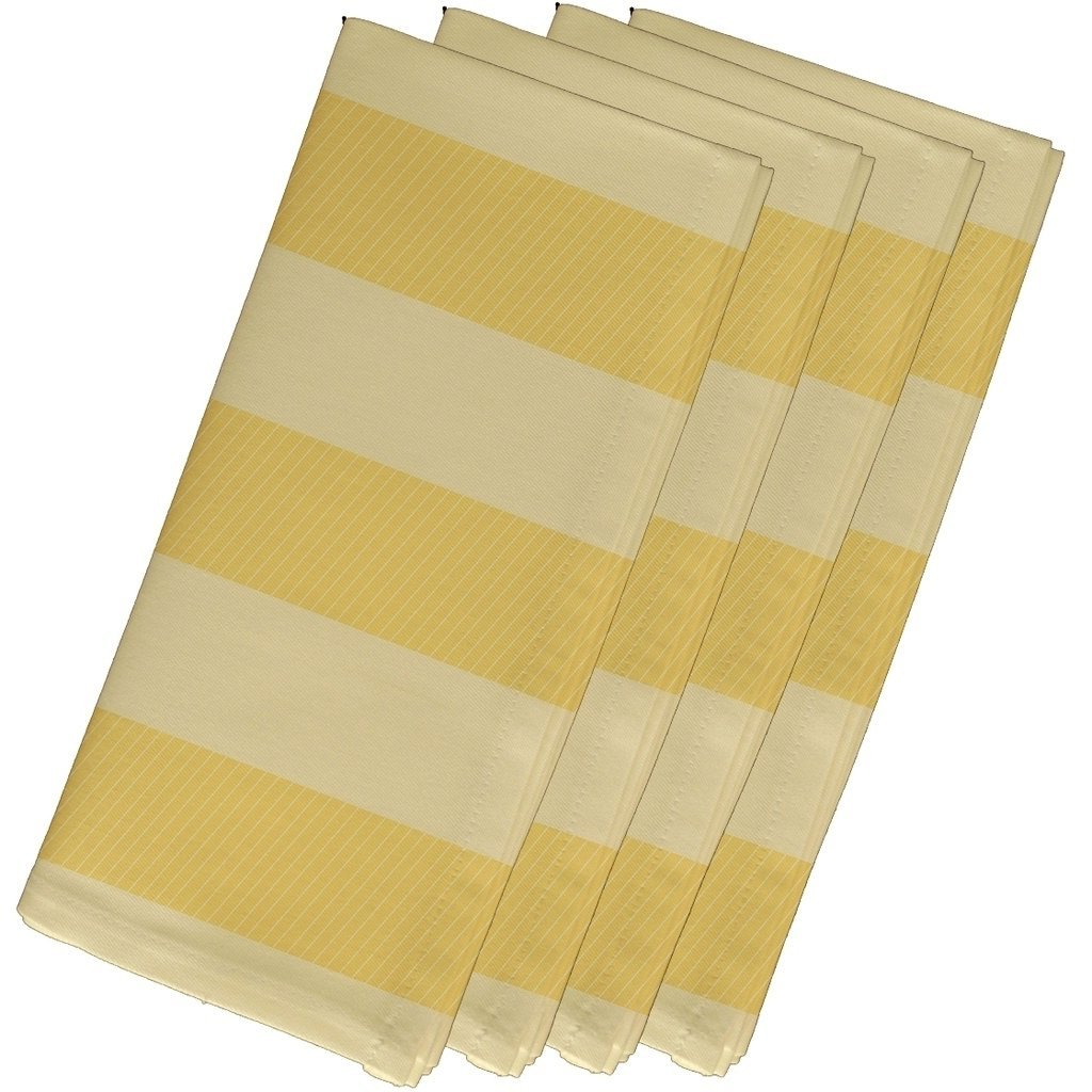 4 Piece Yellow Napkin (19''), Contemporary Style, Cotton Material, Stripe Pattern, Decorative Table Top Napkin Type, Two-Tone Stripe, Suitable For Everyday, Special Occasions, Light Yellow