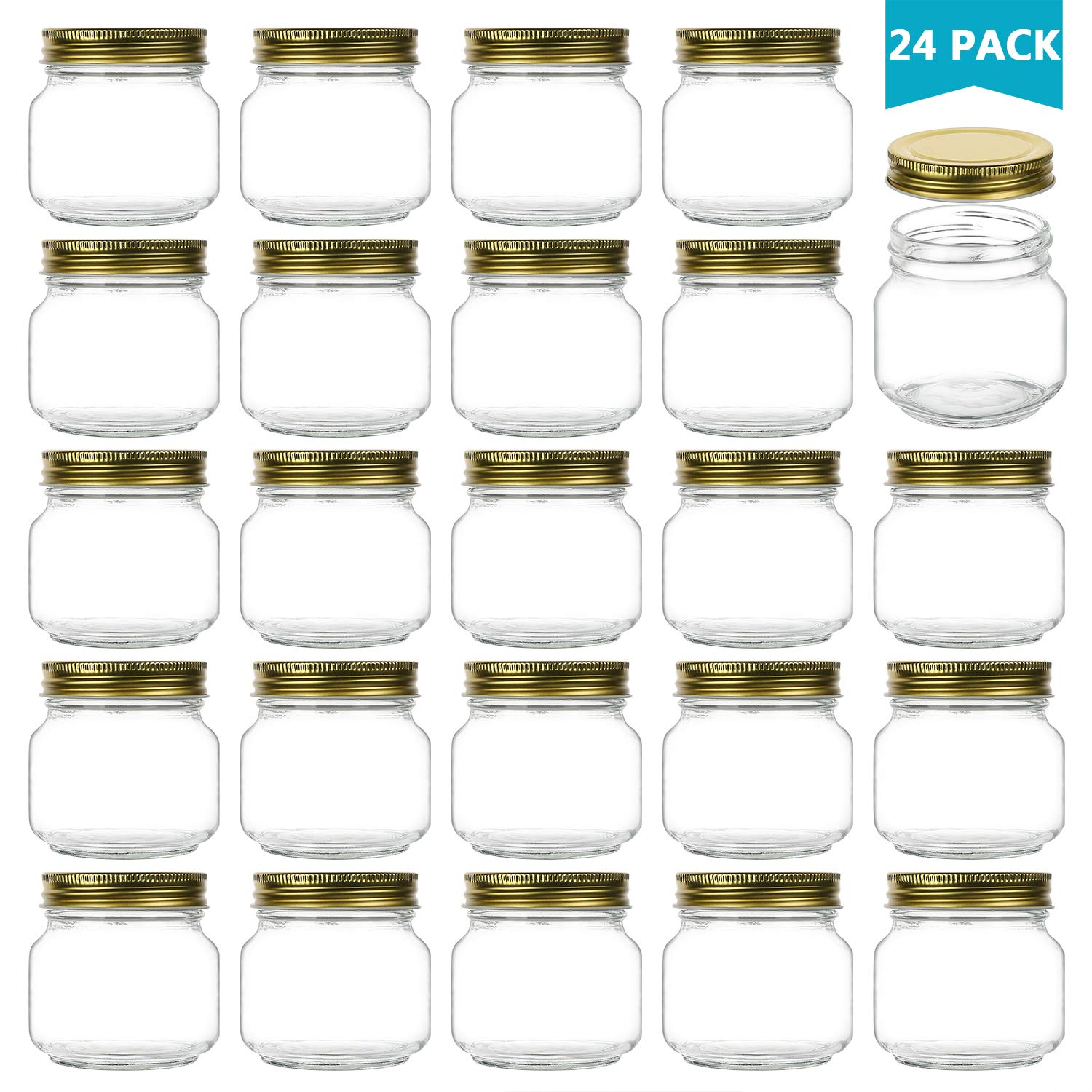 Encheng 8 oz Glass Jars With Lids,Ball Wide Mouth Mason Jars For Storage,Canning Jars For Caviar,Herb,Jelly,Jams,Honey,Dishware Safe,Set Of 24 by Encheng