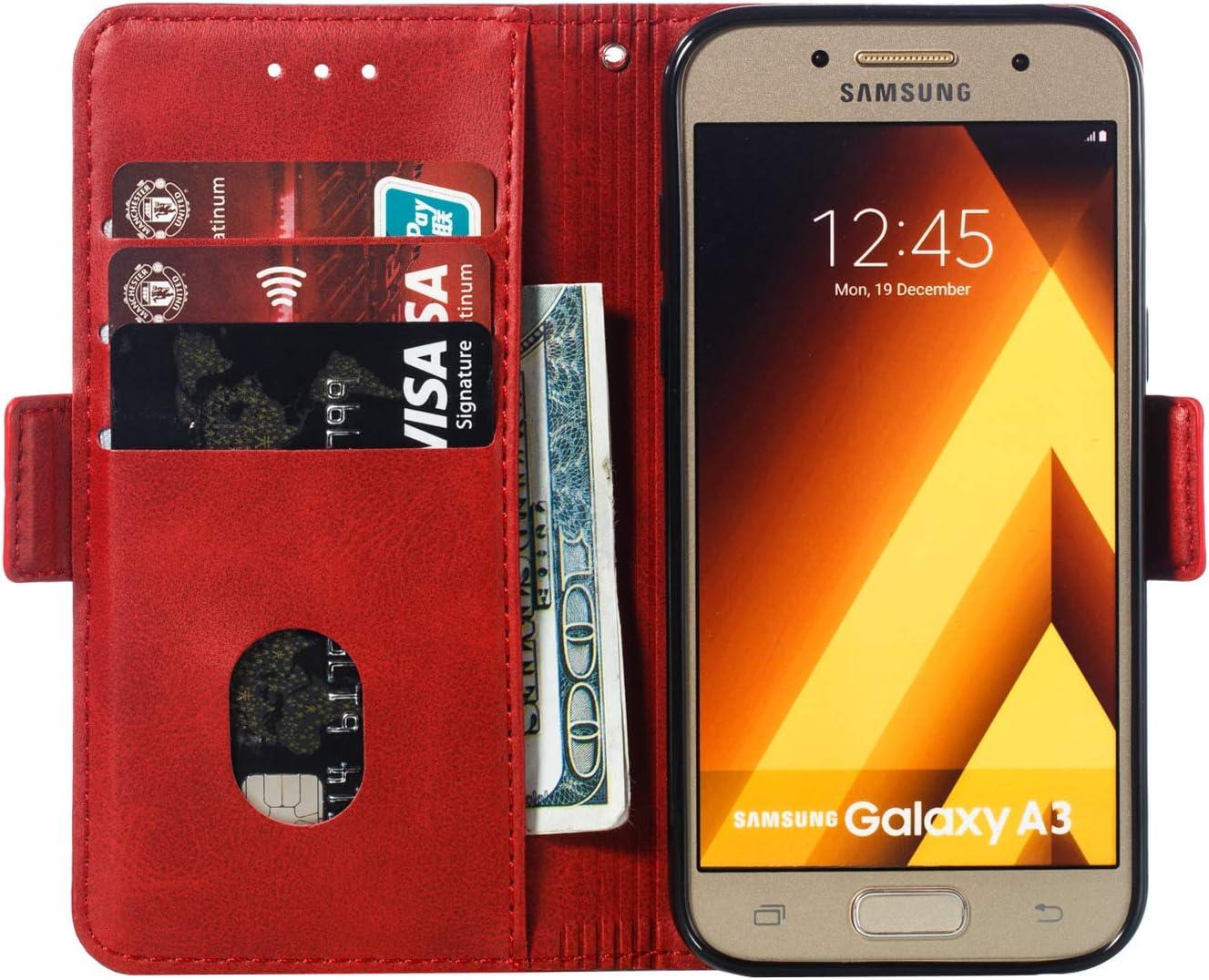 H/ülle Leder Case mit Standfunktion Magnetverschluss Flipcase Klapph/ülle kompatibel mit Samsung Galaxy A3 2017//A320FL Docrax Galaxy A3 2017 Handyh/ülle DOYTE010073 Blau