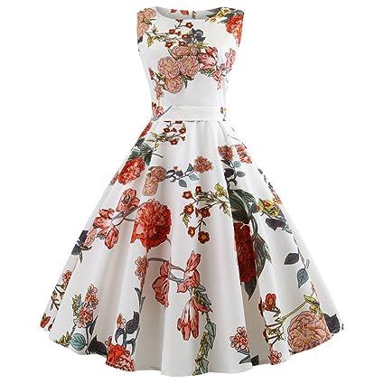 Women Vintage 1950s Floral Prom Dresses Sleeveless Retro Audery Hepburn Swing Dress(White A,