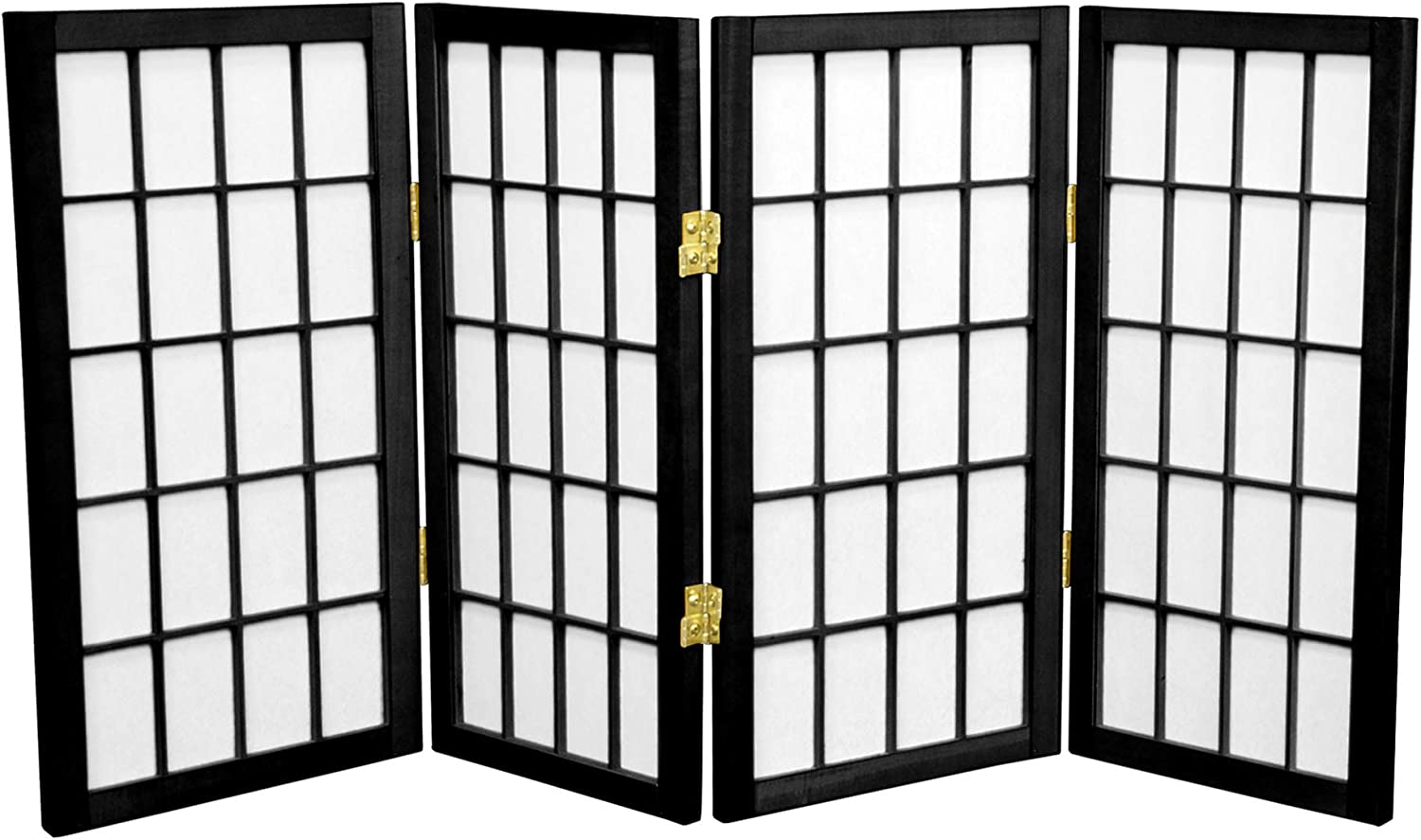 Oriental Furniture 2 ft. Tall Desktop Window Pane Shoji Screen - Black - 4 Panels