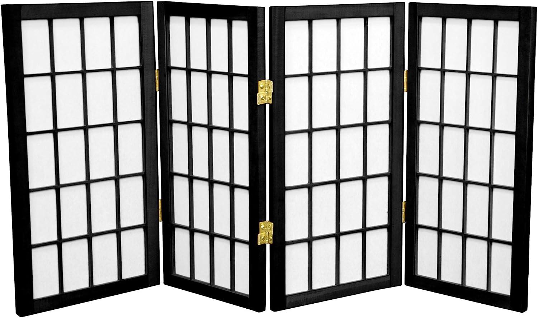Oriental Furniture 2 ft. Tall Desktop Window Pane Shoji Screen - Black - 4 Panels
