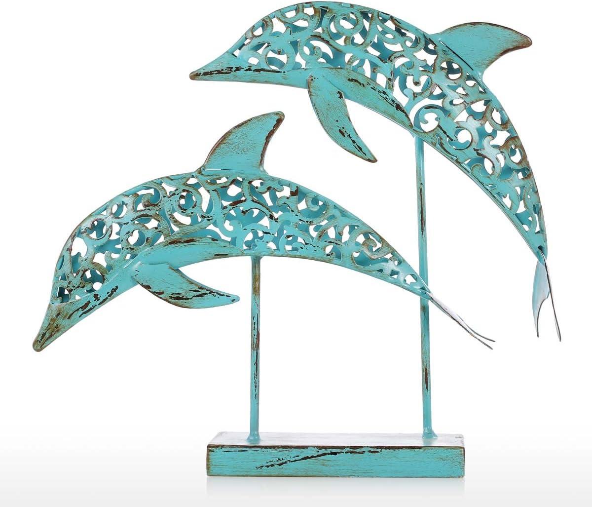 Fesjoy Escultura De Delfines,Estatua Hecha A Mano De Dos Delfines Azules Estatua De Hierro Ornamento Efecto Marino De La Vida Marina