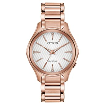 Citizen Womens Eco-Drive Japanese-Quartz Watch with Stainless-Steel Strap, Pink
