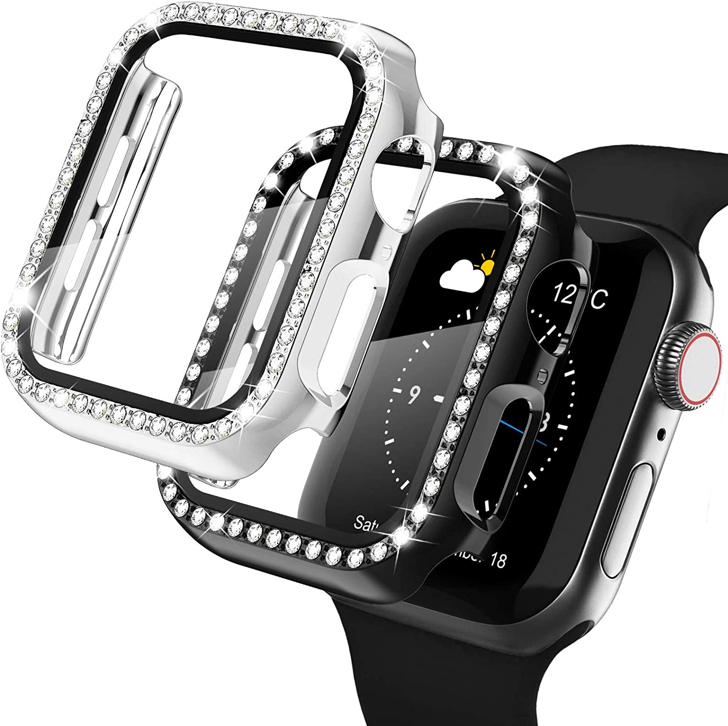 Recoppa Apple Watch Case with Screen Protector for Apple Watch 38mm Series 3/2/1, 2 Pack Bling Crystal Diamond Ultra-Thin Bumper Full Cover Protective Case for Women Girls iWatch Black/Silver