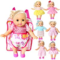 Pack of 7 Bitty Baby Alive Doll Clothes with Doll Carrier Backpack Storage Bag Handmade Dresses Outfits Realistic Daily…