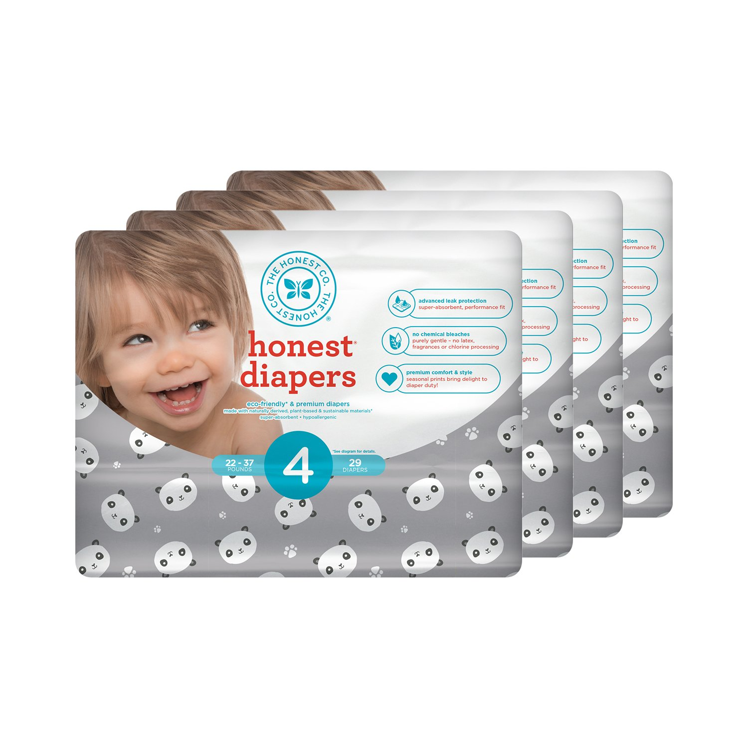 Honest Baby Diapers, Pandas, Size 4, 116 Count by The Honest Company