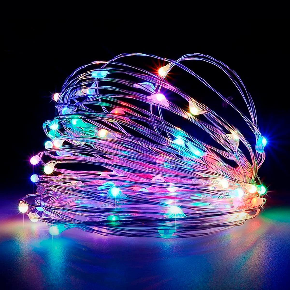 Led String Lights, RGB Fairy Light, 33ft 100 Led USB Operated Silver Wire Starry Lights, IP65 Waterproof Sliver Wire Lights for Bedroom Party Wedding Camping Indoor Outdoor Christmas Decor