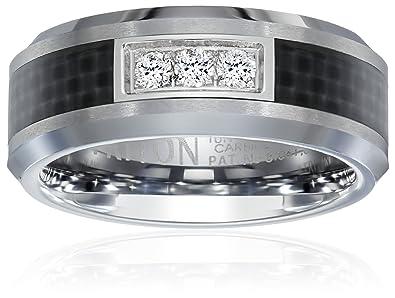 Triton Mens Tungsten and Carbon Fiber 8mm Diamond Wedding Band 1