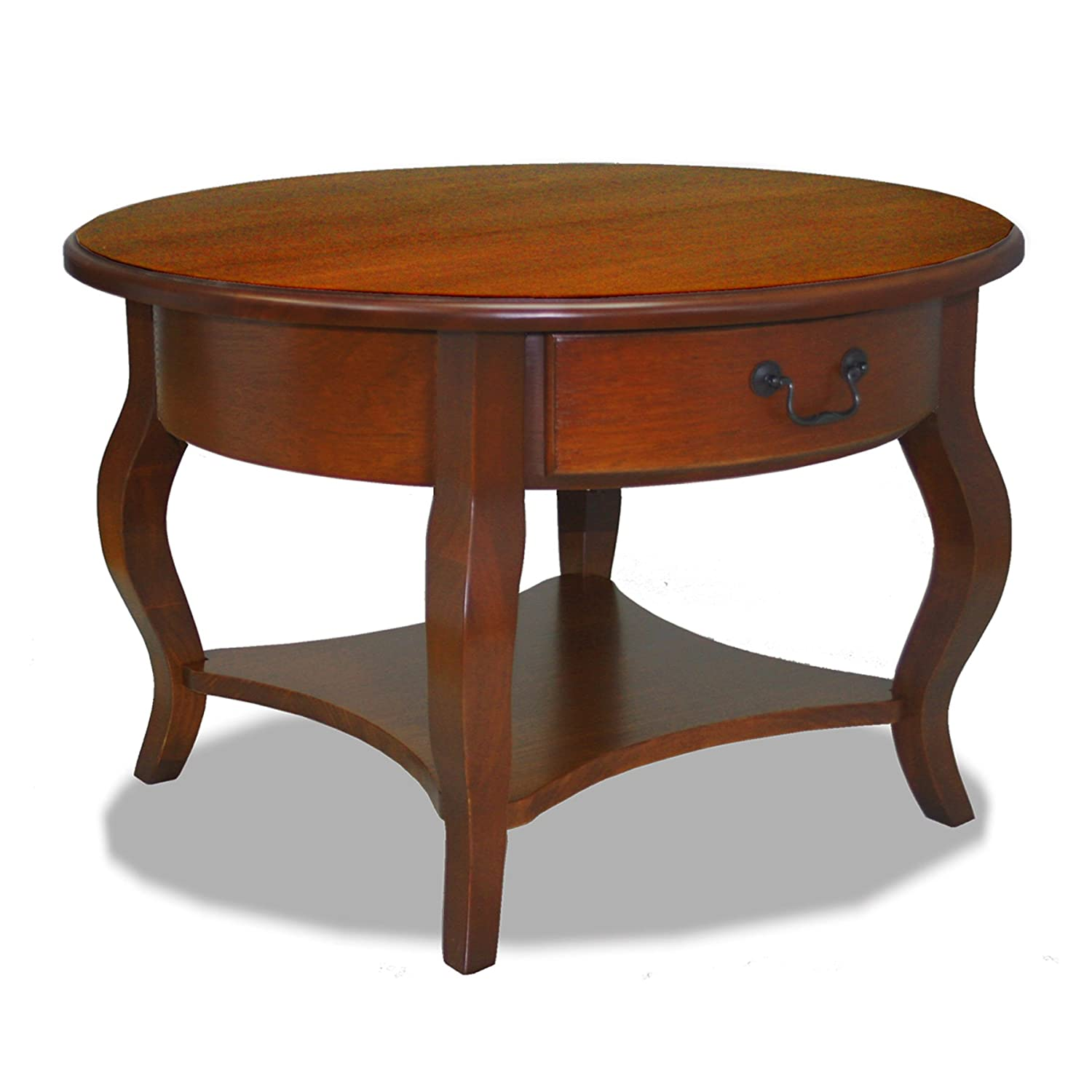 Amazon.com: Leick French Countryside Round Storage Coffee Table, Brown  Cherry: Kitchen U0026 Dining