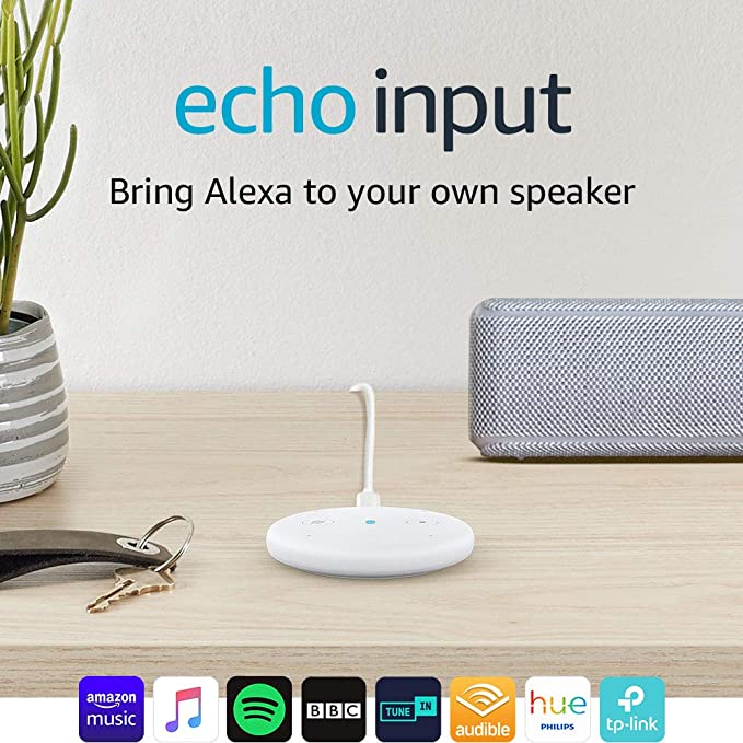 Echo Input (White) – Bring Alexa to your own speaker – Requires an external  speaker with 3 5mm audio-input or Bluetooth