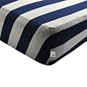 Burt's Bees Baby - Fitted Crib Sheet, Bold Stripes, 100% Organic Cotton Crib Sheet For Standard Crib and Toddler Mattresses (Blueberry)