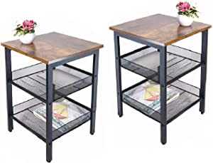 JPNTOYE Metal End Table Set of 2 with Stable Frame, 21.6Inch Industrial Nightstand Table with Mesh Shelves, Wood Look Accent Furniture for Living Room, Bedroom, Rustic Home Decor, Vintage Brown