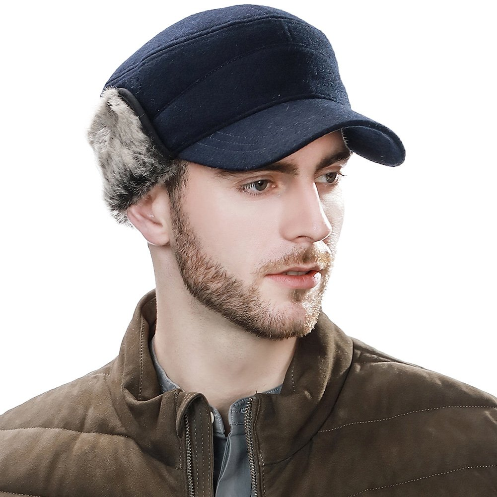 SIGGI Winter Wool Baseball Cap Earflap Hat Fitted Hunt Military Hats Soft Lined CM89078