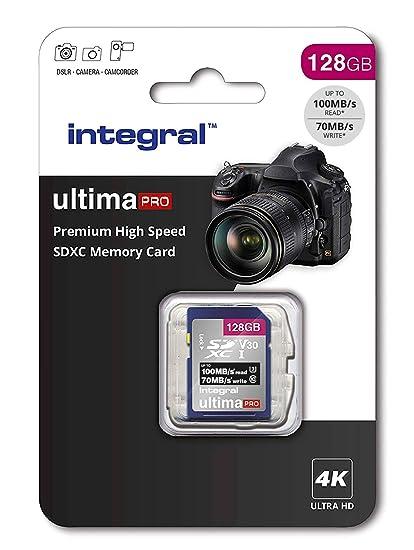 Integral - Tarjeta de memoria 128 GB (4 K, alta velocidad, SDXC, hasta 100 MB/s, V30, UHS-I, U3) 128 GB. 128 GB