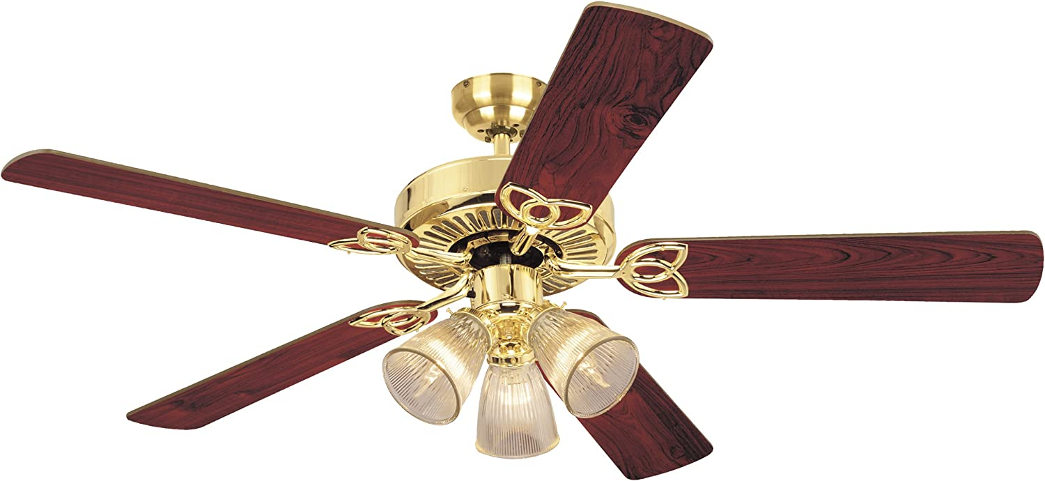 Westinghouse Lighting 7804320 Vintage Three-Light 52-Inch Reversible Five-Blade Indoor Ceiling Fan, Polished Brass with Clear Ribbed Glass Shades