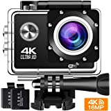 Action Camera 4K 30Fps Sports Cam - BUIEJDOG 16MP Action Cam HD WiFi Waterproof Camcorder with 170°Wide Angle Lens 2 Rechargeable Batteries Remote Control and 18 Mounting Accessories Kits