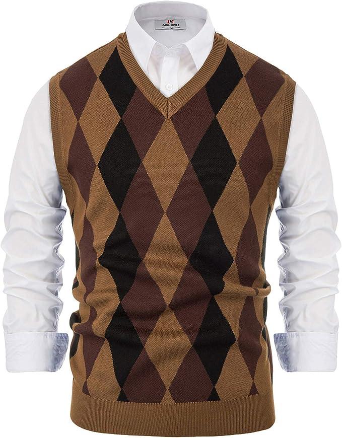 Men's Vintage Vests, Sweater Vests Paul Jones Mens Argyle Sweater Vest Knitted Casual V-Neck Pullover Vest $25.99 AT vintagedancer.com