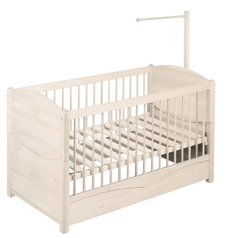 BioKinder Kinderbett Kindersofa Babybett mit Aufhängung für Betthimmel Luca aus Massivholz Kiefer 70 x 140 cm weiß lasiert