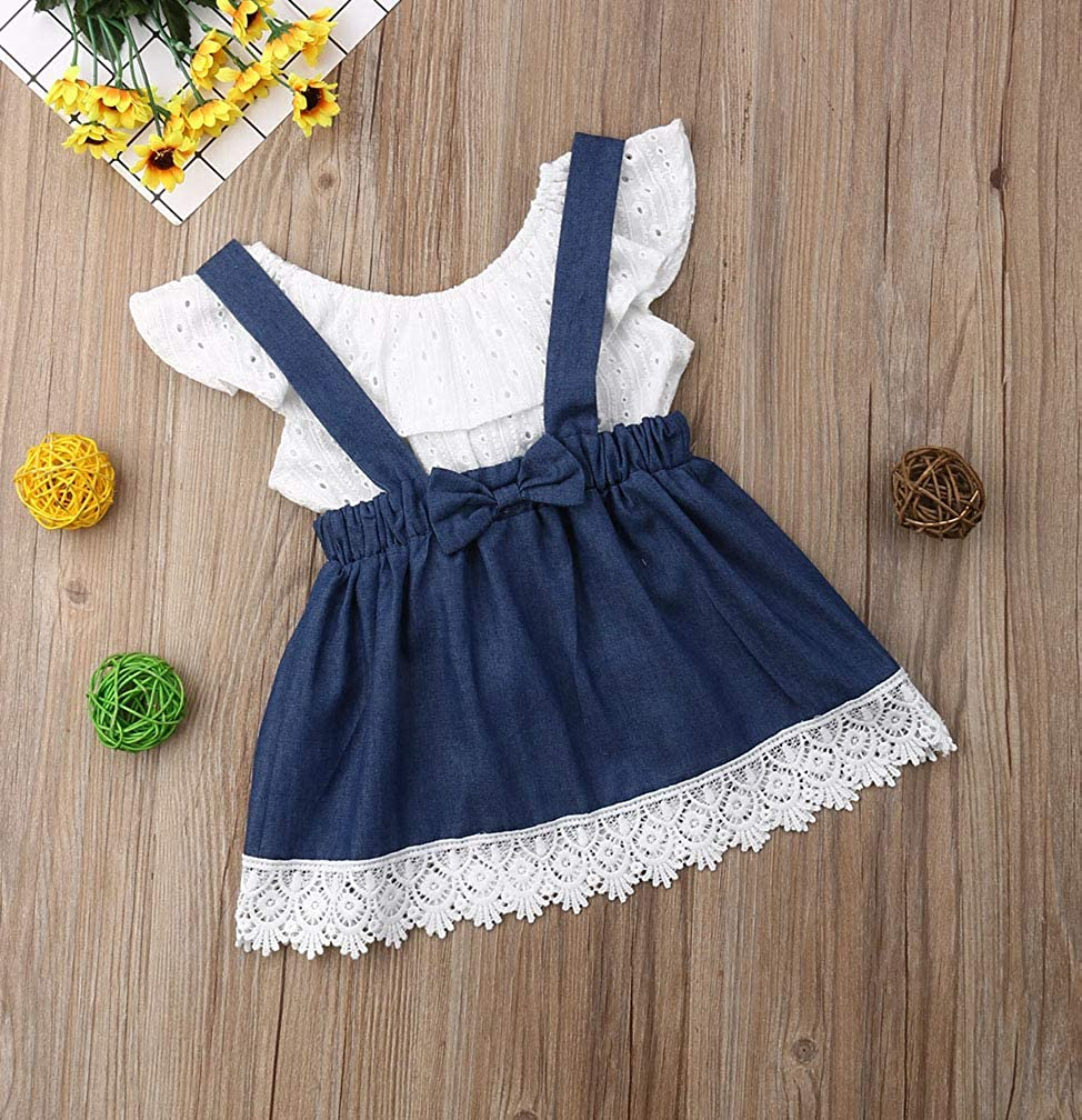 Toddler Infant Baby Girls Ruffles Tank Tops with Denim Overall Skirt Outfits Sets Summer Dress Clothes