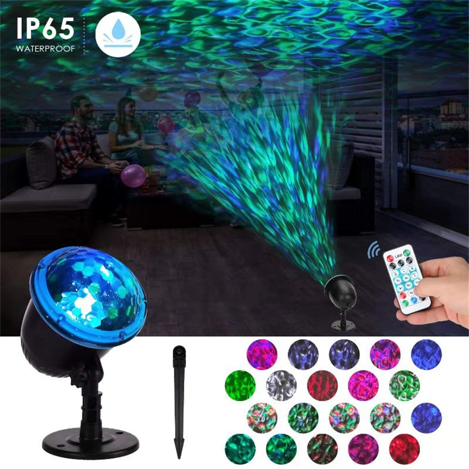 Halloween Projector Lights outdoor Water Wave Night Decorations,Ocean Wave Projector Waterproof LED Lamp with Ripple RGBW 3D Water Effect,Remote Control for Christma Wedding Party Holiday by Lanpuly