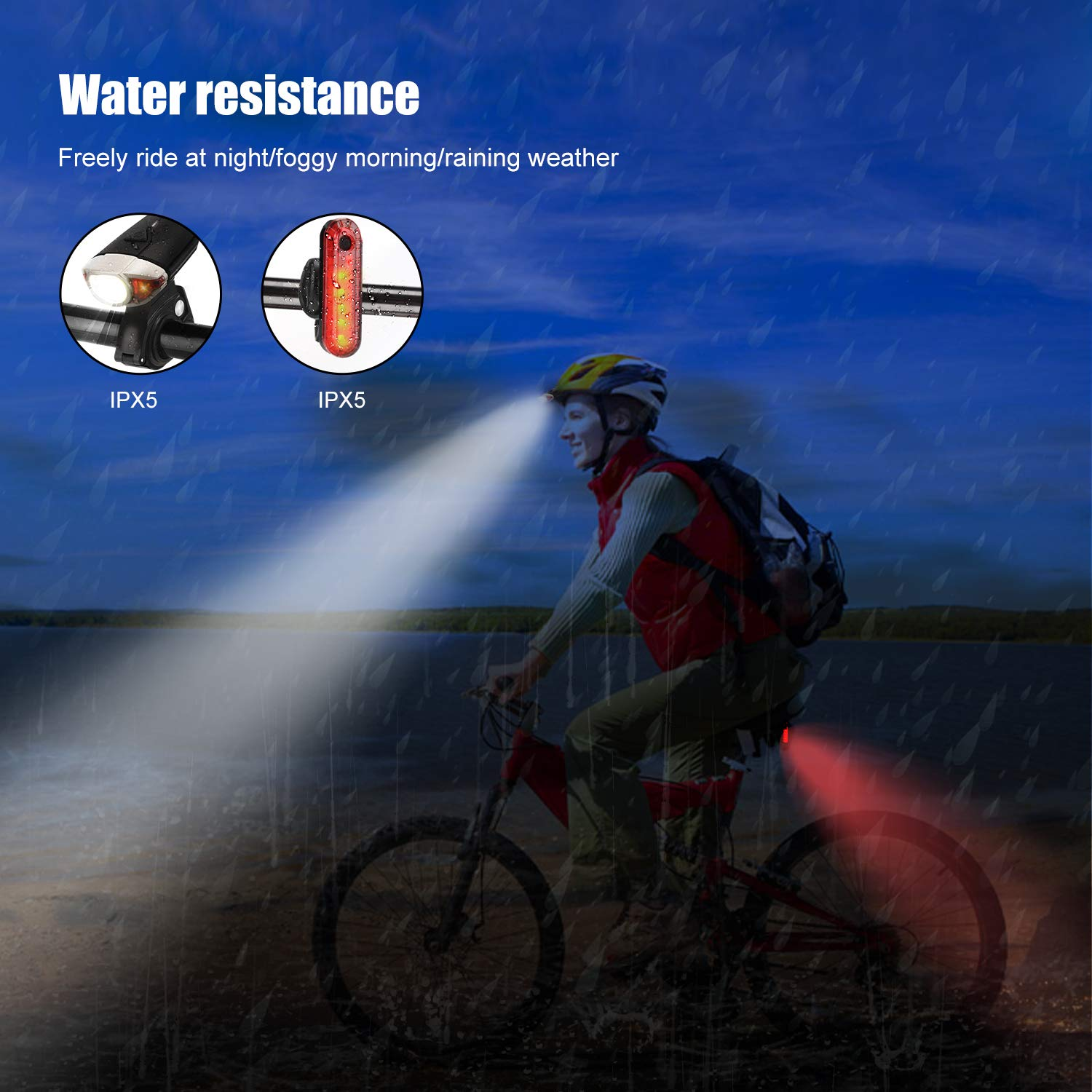 bedee Bike lights Set Rechargeable Super Lumens Cycle Headlight with Rear Bike Light Waterproof 3 Modes Bicycle Lights Mountain Bike Light/Road Bike Light for Night Riding
