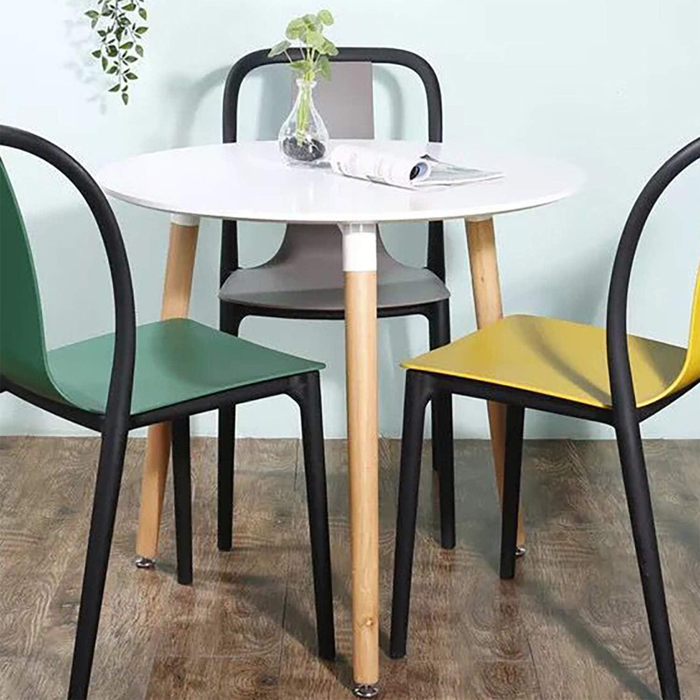 MIFI Tavolo da Pranzo in Legno Eiffel Tavolo da Cucina Rotondo Tavolo da caff/è Gambe in Legno di faggio Naturale Bianco