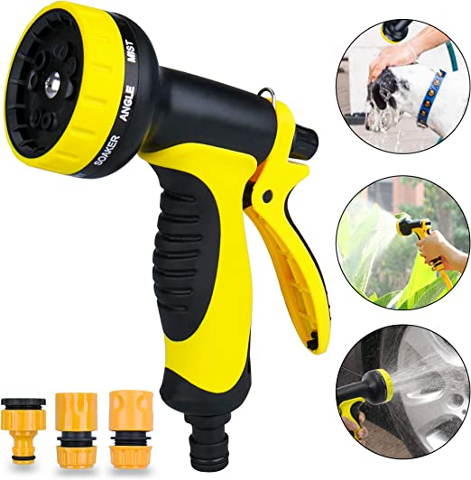 SPLAKS - Pistola de riego con 10 Modos de riego, pulverizador de jardín, Resistente al Agua y a los Golpes, para riego de jardín y Plantas, Lavado de Coche: Amazon.es: Jardín