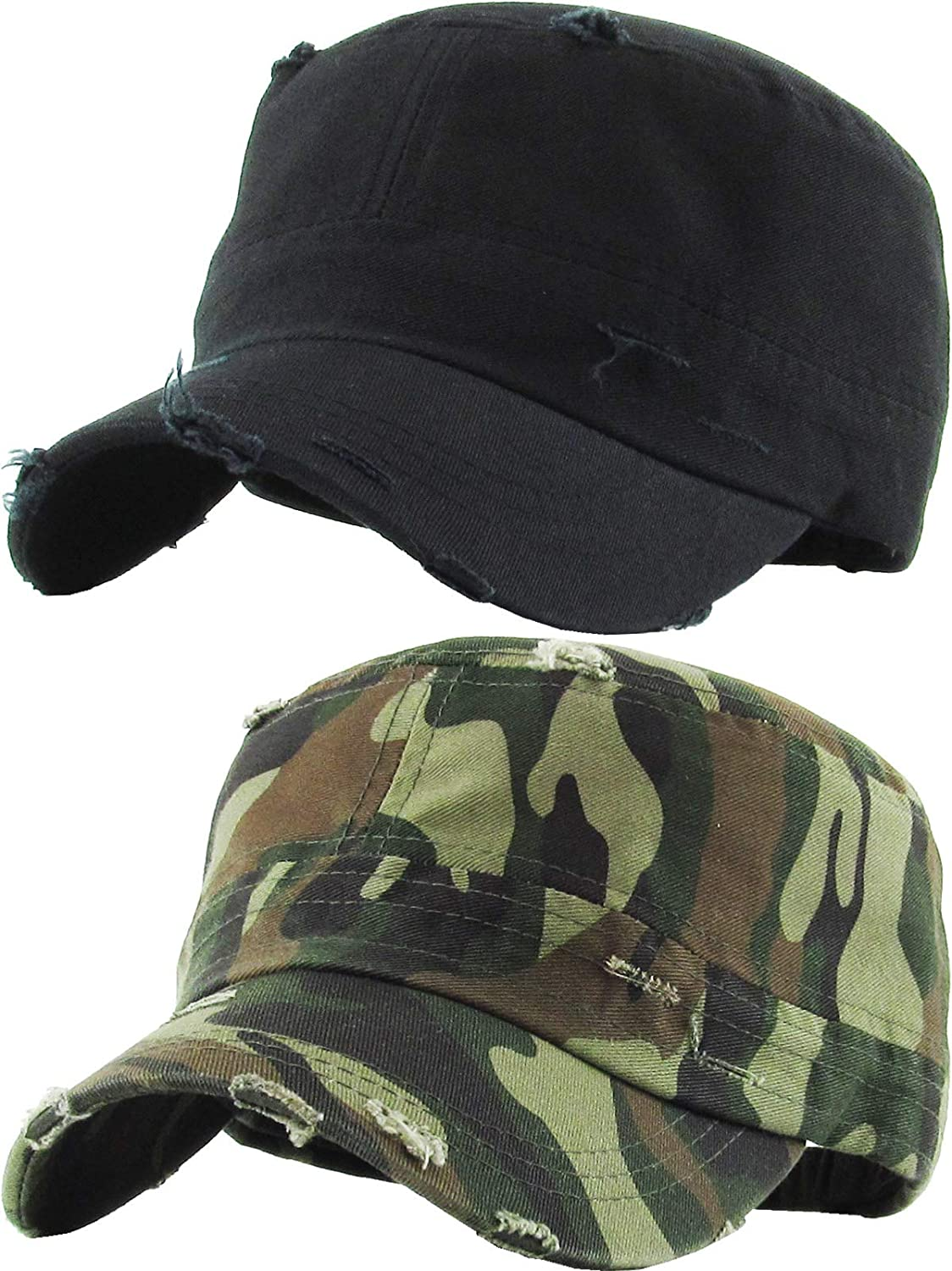 c1c369c59 Funky Junque Military Style Cadet Hat Army Vintage Distressed Adjustable Cap