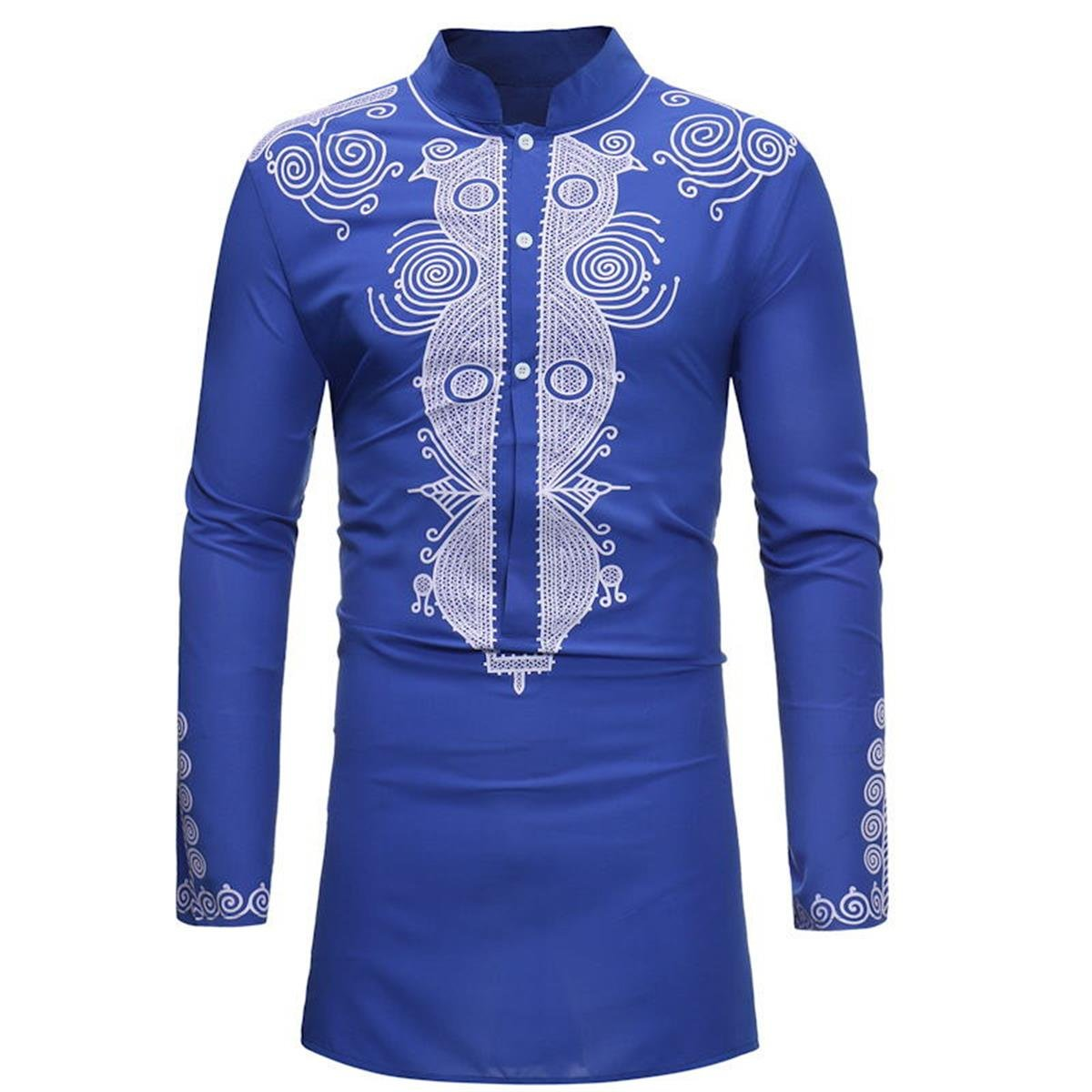 Luxfan Mens African Clothing Tribal Dashiki Traditional Maxi Stand Collar Long Sleeves Dress Shirt Plus Size (Blue, XL)