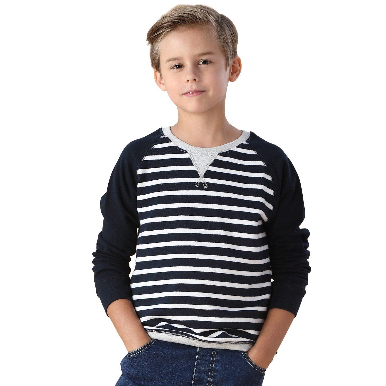 Leo&Lily Boys' Yarns Dyed Stripe Fleece Sweatshirts Top (Navy Stripe, 14)